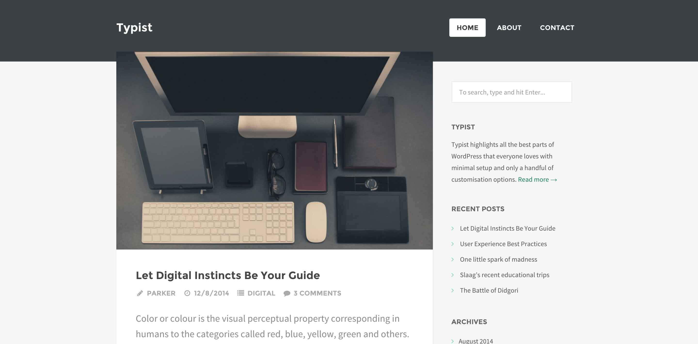 typist wordpress themes for writers