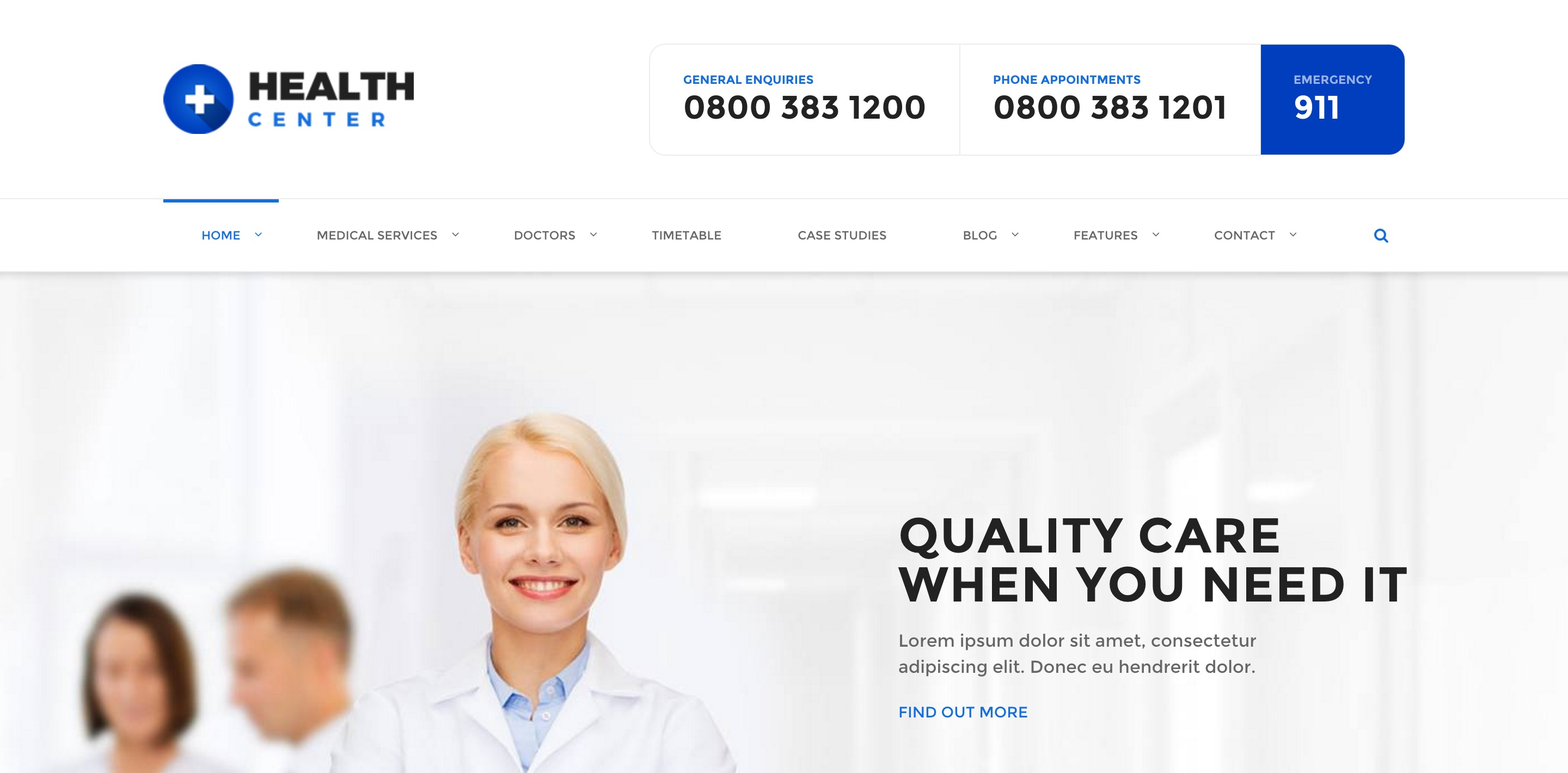 health center medical WordPress themes
