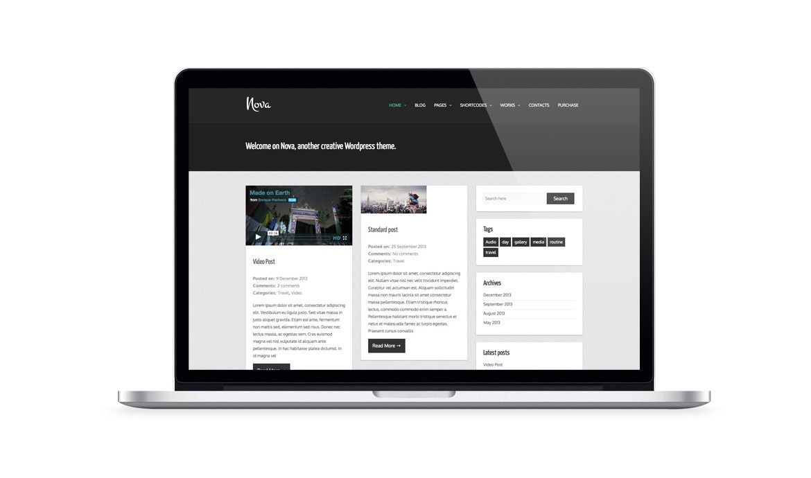 free wordpress themes built with bootstrap nova