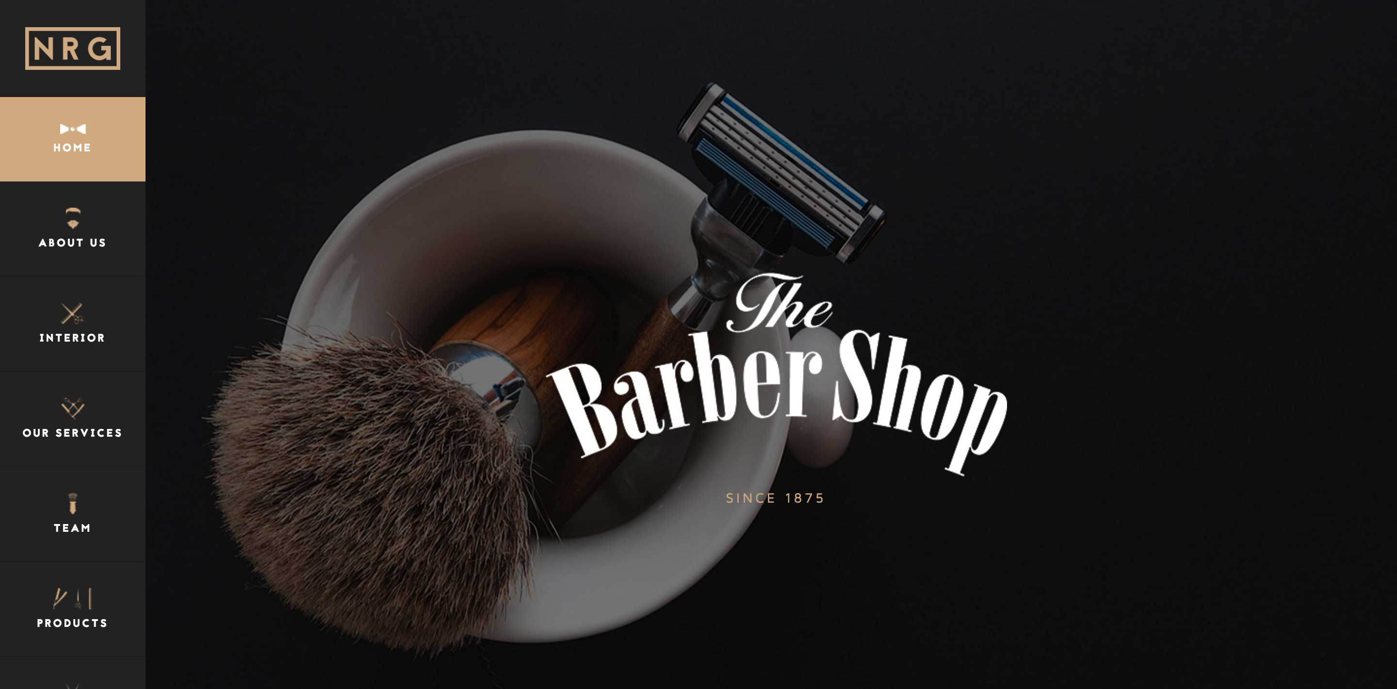 nrg barber shop one page wordpress themes