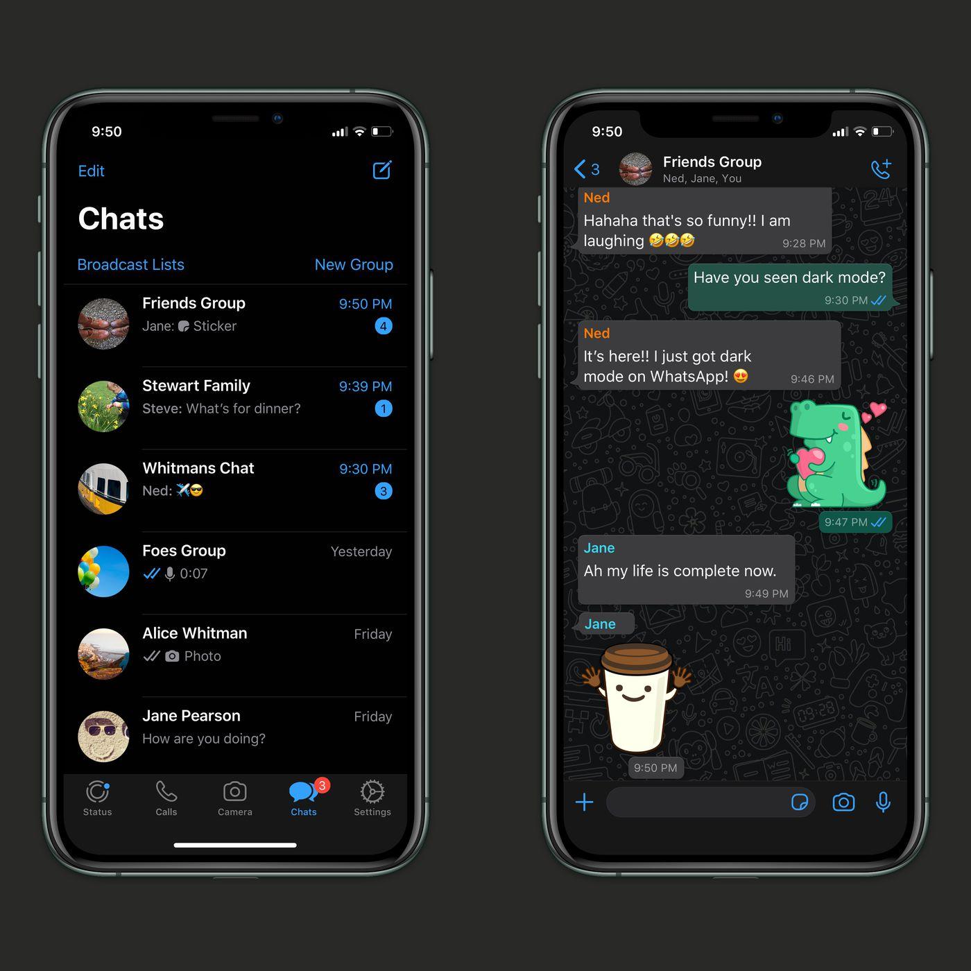 about whatsapp dark mode
